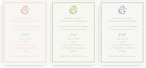 French Vine Monogram - Invitations