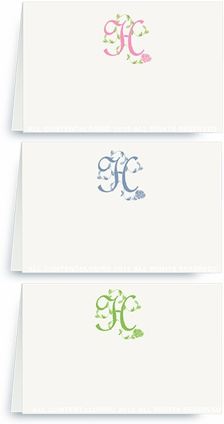 French Vine Monogram - Place Cards