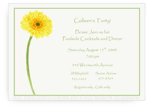 Gerber Daisy - Yellow - Invitations