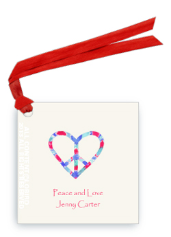 Gift Tags -  Peace heart red/blue
