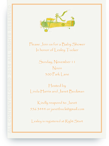 Giraffe Flying Plane - 5 x 7 Invitations