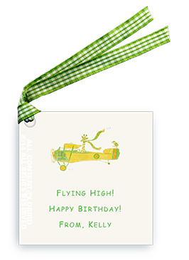 Giraffe Flying Plane - Gift Tags