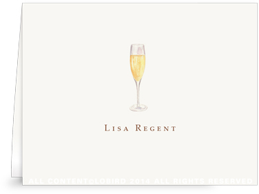 Glass of Champagne - Folded Note Cards