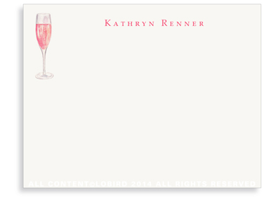 Glass of Champagne Ros� - Flat Note Cards