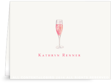 Glass of Champagne Ros� - Folded Note Cards