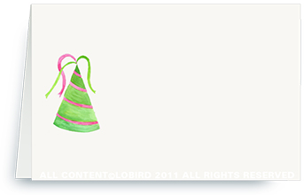 green/pink stripe party hat - place cards