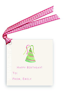 Green-Pink Striped Party Hat - Gift Tags