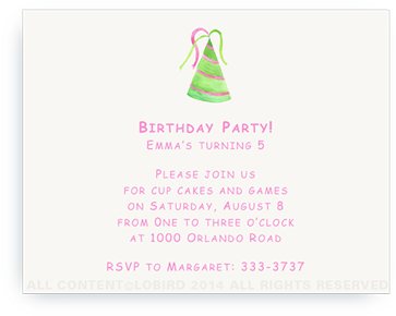 Green-Pink Striped Party Hat - Invitations