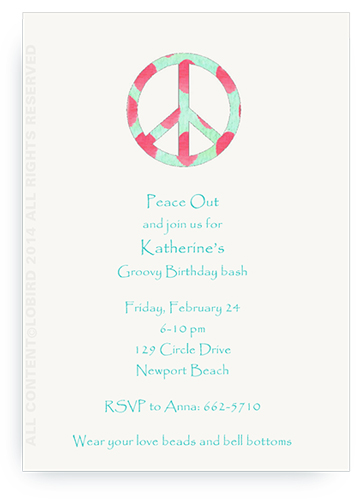 Ikat Peace Sign - Invitations