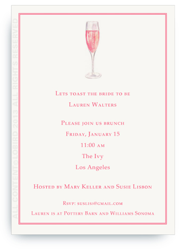 Invitation - Glass of Champagne Rosé