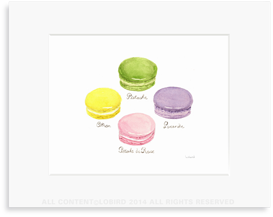 macaron - pastel original watercolor art print