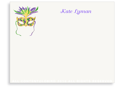 Mardi Gras Mask - Flat Note Cards