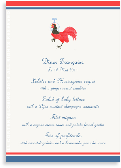 Menu Cards - Rooster Wearing Wine Glass