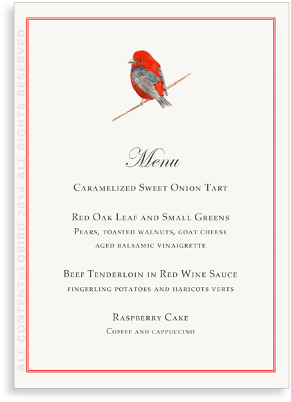Menu Cards - Scarlet Tanager
