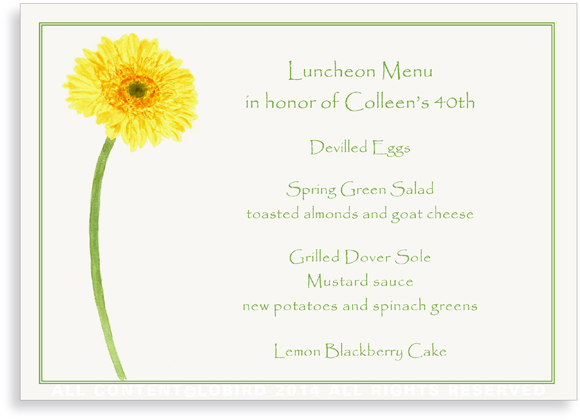 Menu Cards- Yellow Gerber Daisy