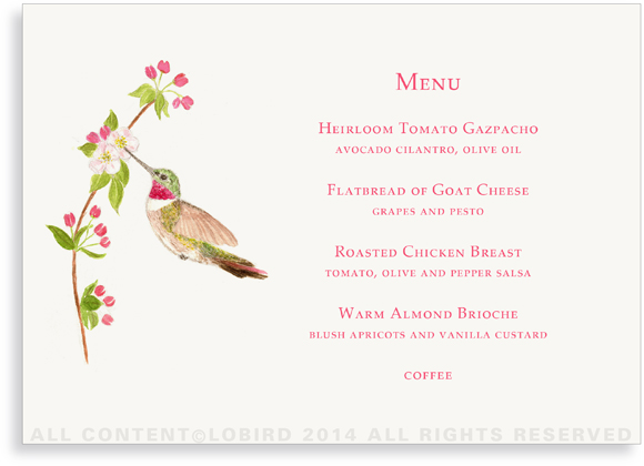 Menu - Hummingbird - Horizontal