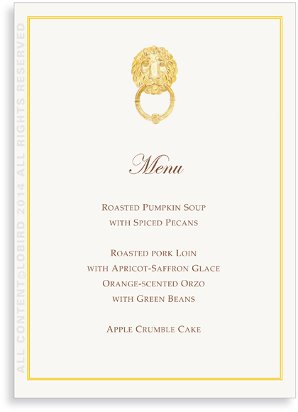 Menu- Parisian  Lion Knocker