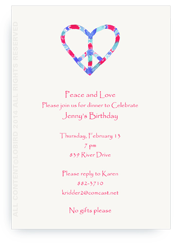 Peace Heart- blue/red - Invitations