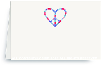 Peace Heart - red/blue - place cards