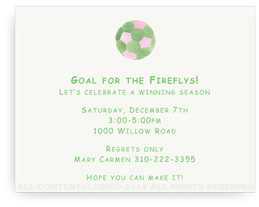Pink - Green Soccer Ball - Invitations