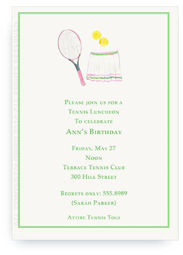 Pink Tennis Racket with Skirt - Invitations