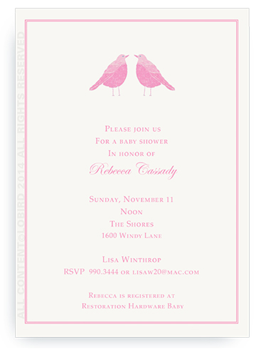 Twin Pink Song Birds - Invitations