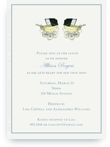 Vintage Blue baby carriages - twins - Invitations