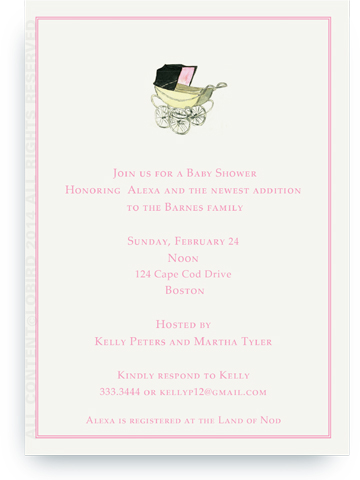 Vintage pink baby carriage - Invitations