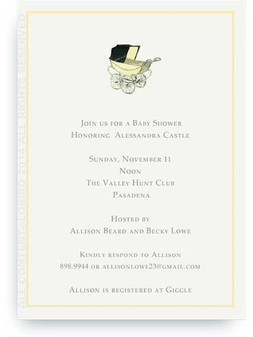Vintage Yellow baby carriage - Invitations