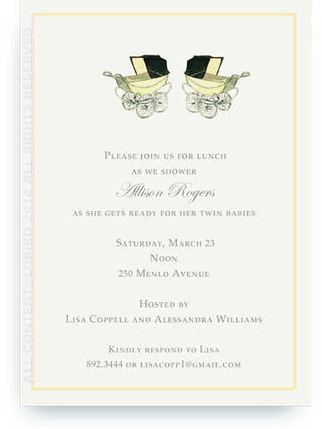 Vintage yellow baby carriages - twins - Invitations