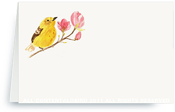 Warbler on Magnolia Branch 2 place cards
