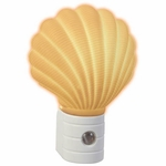 Small Decorative Shell Night Light, Automatic, White