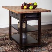 "Santa Fe Butcher Block Table With 9"" Drop Leaf by Sunny Designs 441-2238DC"