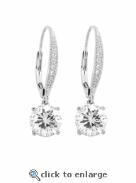 Sterling Silver & Diamond CZ Leverback Earrings