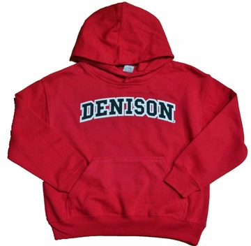 Denison  Embroidered Youth Red Hoodie Small