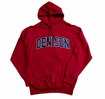 Denison MV Embroidered Hoodie Red Medium