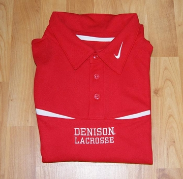 Denison Nike Red Lacrosse Polo