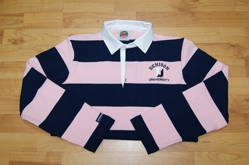 Denison Rugby Long Sleeve Striped Salmon/ Navy