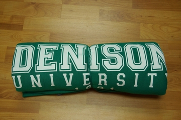 Denison University Blanket Green w/ White