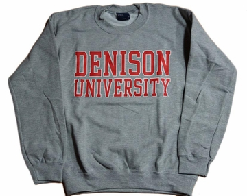 Denison University MV Printed Crew Gray Heather