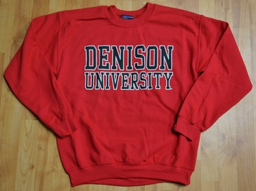Denison University MV Red Printed Crew Sweatshirt