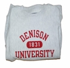Denison University White 1831 Crew Heather Grey