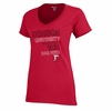 Denison University Womens V-Neck Shirt Red