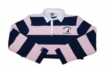 Denison Womens Rugby Long Sleeve Striped Salmon/ Navy