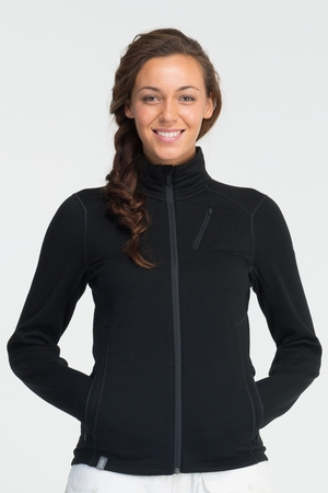 Icebreaker Womens Cascade Long Sleeve Zip Black (Spring 2014)