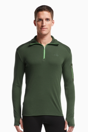 Icebreaker Mens Apex Long Sleeve Half Zip Conifer/ Conifer/ Balsam