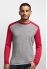 Icebreaker Mens Oasis Long Sleeve Crewe Metro Heather/ Rocket/ Rocket (Close Out)