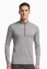 Icebreaker Mens Oasis Long Sleeve Half Zip Metro Heather/ Metro Heather/ Rocket