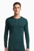 Icebreaker Mens Oasis Long Sleeve Henley Nori Heather/ Clay