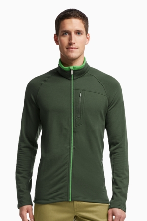 Icebreaker Mens Sierra Long Sleeve Zip Conifer/ Balsam/ Balsam